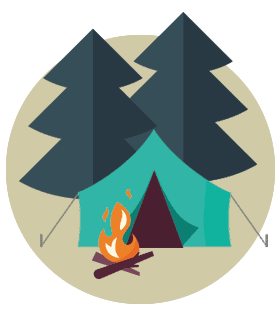Stylized illustration of a tent in the woods with a campfire.