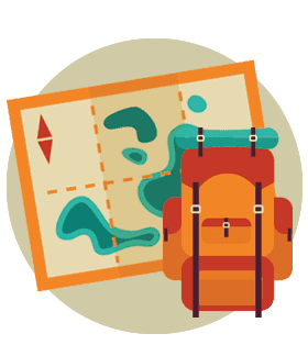 Stylized illustration of a map and a backpack.
