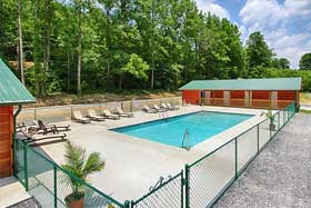 The scenic swimming pool at Pigeon River Campground in the Smoky Mountains