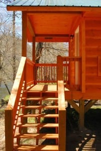 Steps leading to a cabin at the Pigeon River Campground in the Smoky Mountains.