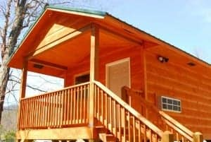Closeup of a Smoky Mountain cabin rental at the Pigeon River Campground near Gatlinburg.