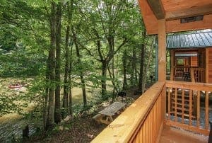 The view of the river from a cabin at Pigeon River Campground near Gatlinburg