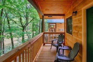 The porch of a cabin in the Smoky Mountains at Pigeon River Campground near Gatlinburg.