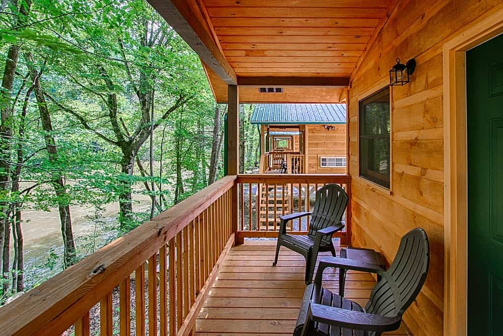The porch of a cabin at Pigeon River Campground in the Great Smoky Mountains.