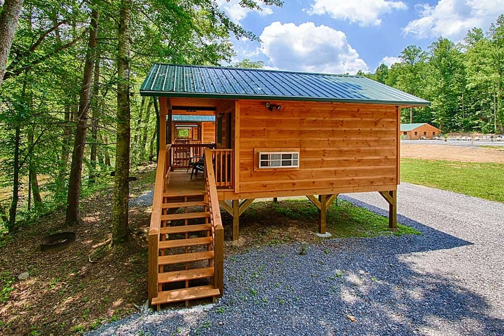 A cabin at Pigeon River Campground in the Smoky Mountains.