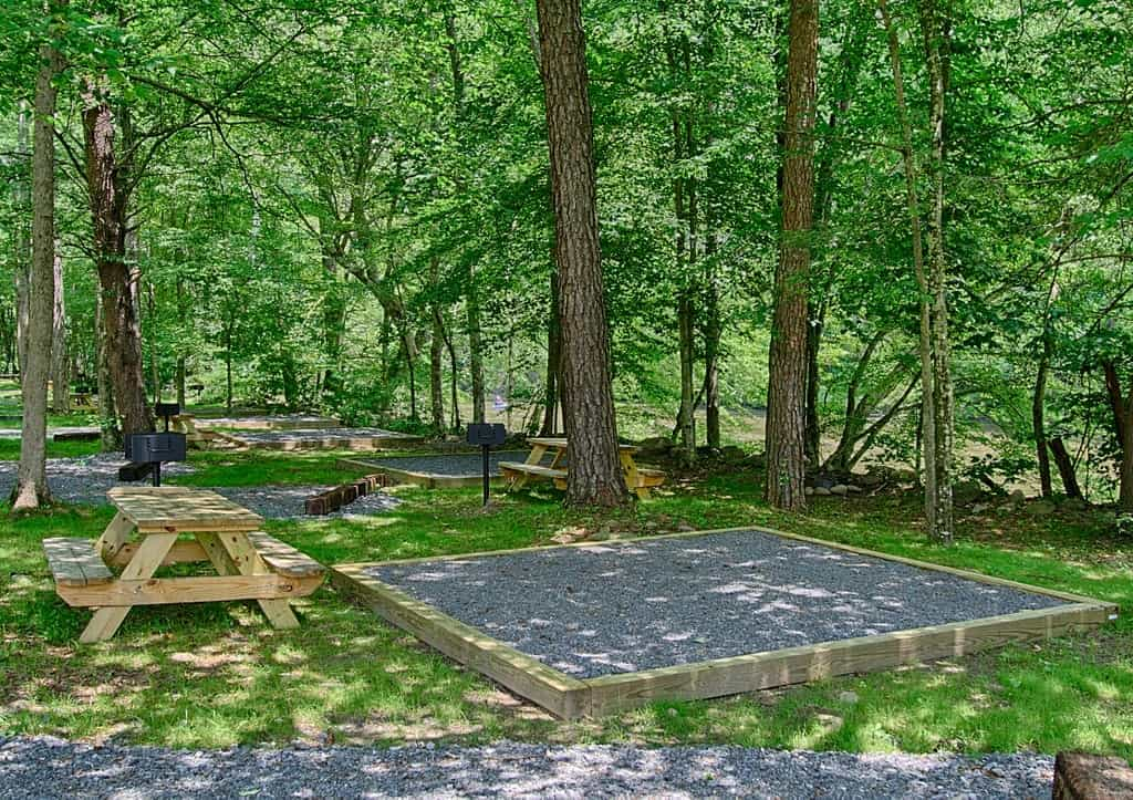 The picnic area at Pigeon River Campground near Gatlinburg, TN.