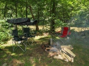 A fire burning at a campsite at Pigeon River Campground in the Smoky Mountains.
