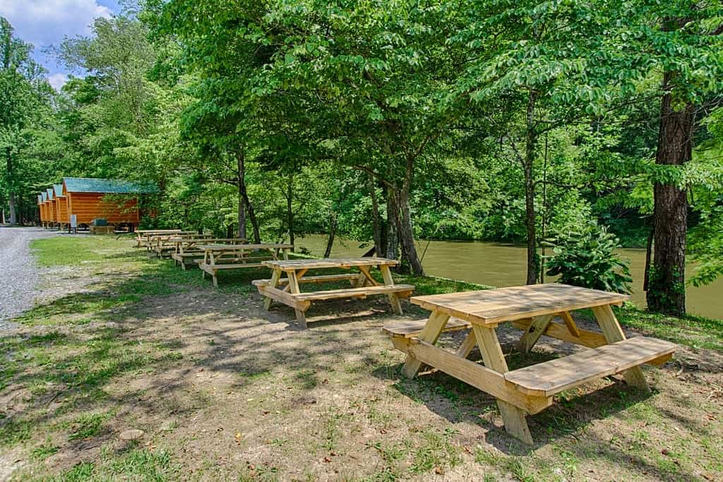 The wonderful picnic area at Pigeon River Campground in the Smoky Mountains