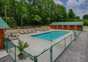 The swimming pool at Pigeon River Campground in the Smoky Mountains