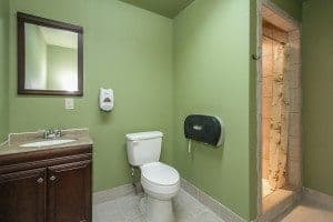 A private bathroom at Pigeon River Campground near Gatlinburg.