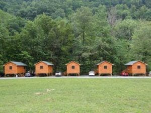 5 cabins at Pigeon River Campground in the Smoky Mountains.