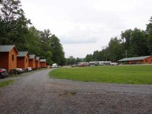 Cabins at Pigeon River Campground in the Smoky Mountains.