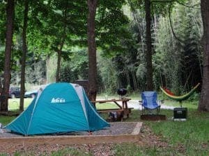 A tent campsite at Pigeon River Campground in the Smoky Mountains.