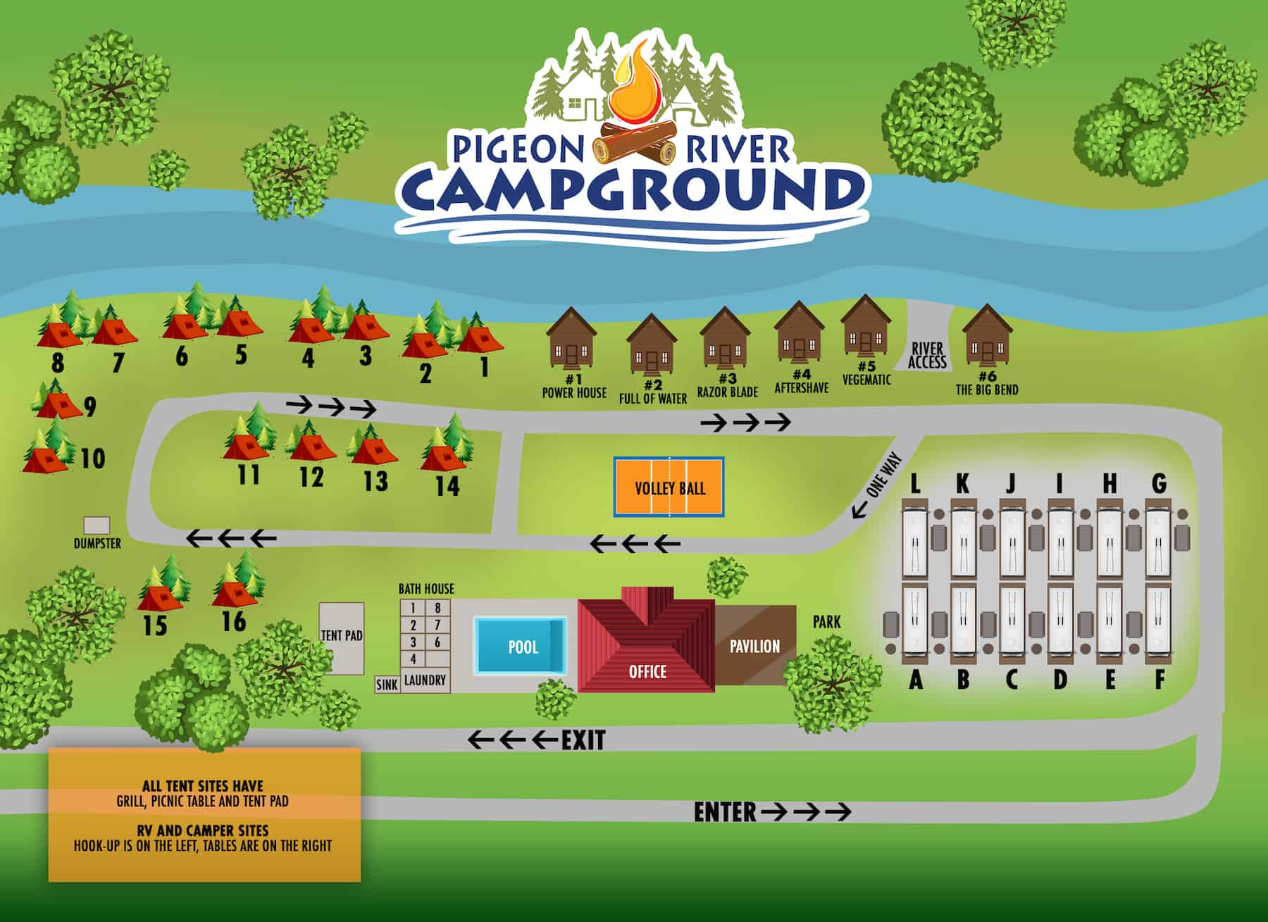 pigeon river campground map drawing
